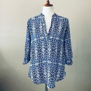 Nordstrom LUSH Blouse Blue Print Career Work S